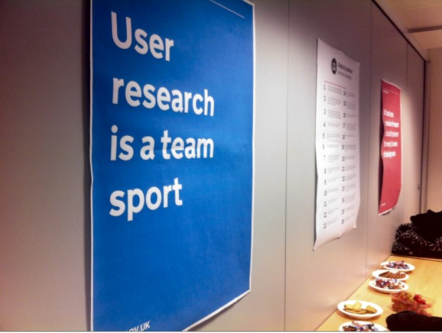 GDS poster featuring the statement, user research is a team sport.