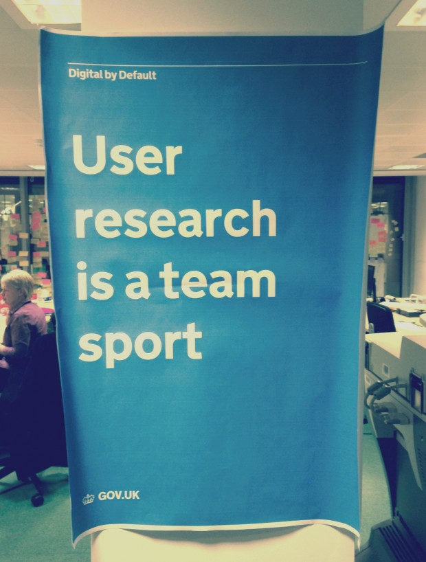 GDS poster with the statement, user research is a team sport.