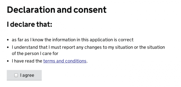 Declaration and consent tick box to say users agrees