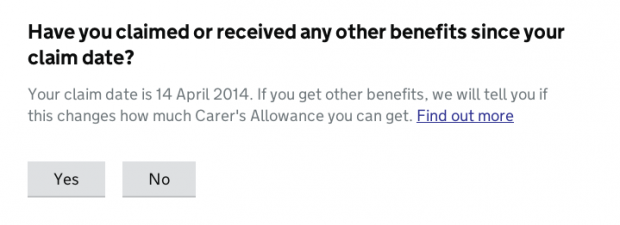 Have you claimed or received any other benefits since your claim date? question example
