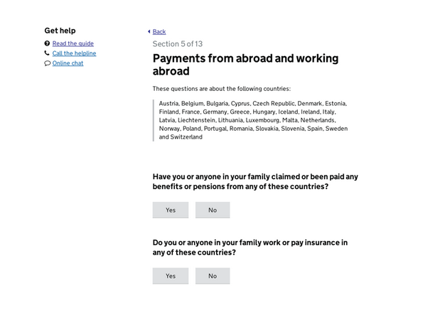 Carer allowance service page with questions about payments from abroad and work abroad