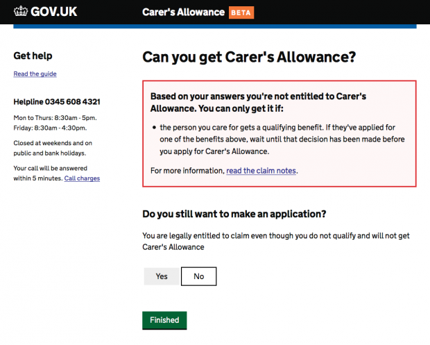 Can you get Carer's Allowance page with message that the user isn't entitled to carers allowance