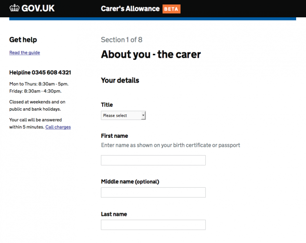 Carer's Allowance service - About you the carer page