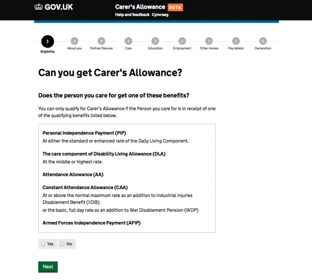 Carer's Allowance service 'Help and support' page