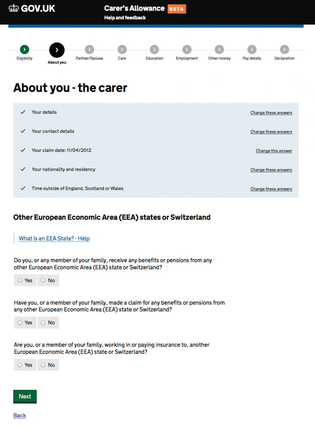 Carer's Allowance service 'smart answers' page