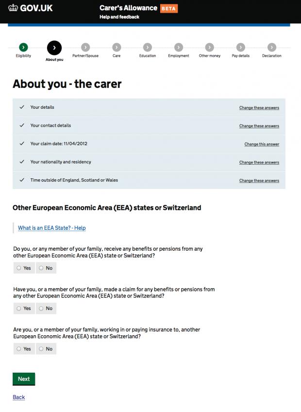 Carer's Allowance service - 'smart answers'