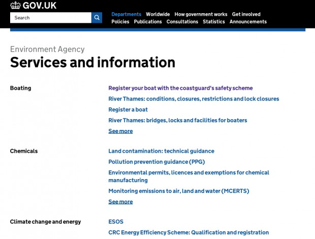 A 'Services and information' page on GOV.UK