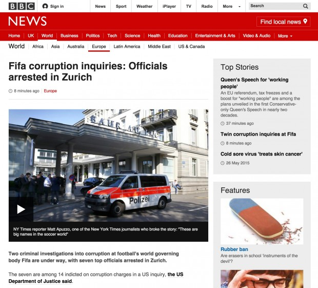 Example of a News Story on BBC website