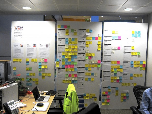 A Research wall in use, next to team desks