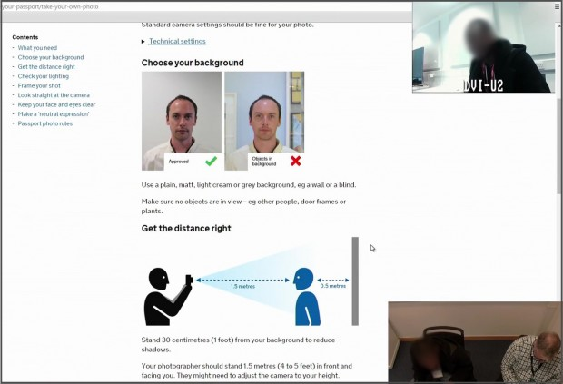 A usability testing session with a user reading guidance for taking a passport photograph