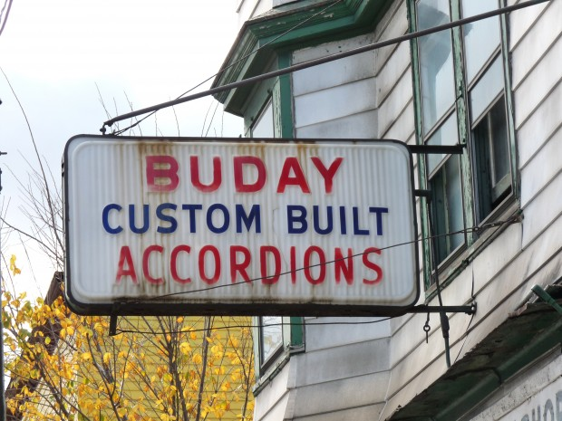 Buday Custom Built Accordions shop sign