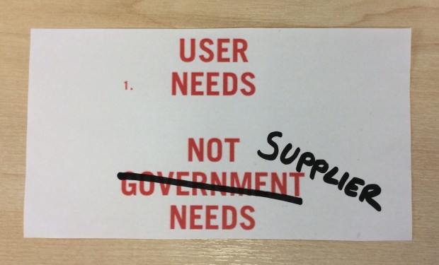 User needs not supplier needs
