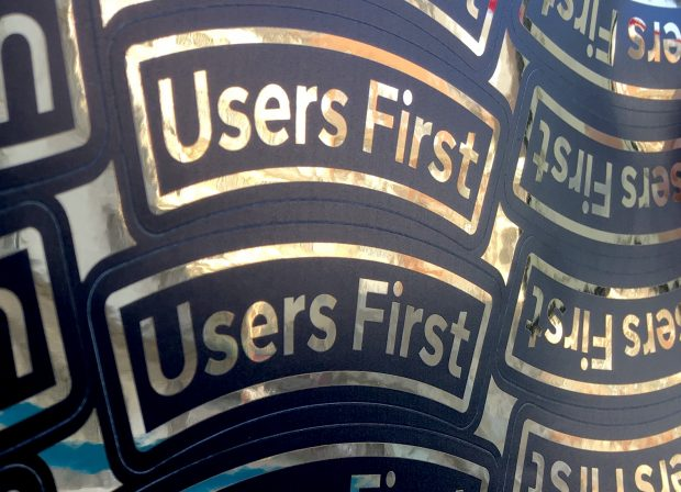 A Sticker Sheet Showing The Phrase Users First