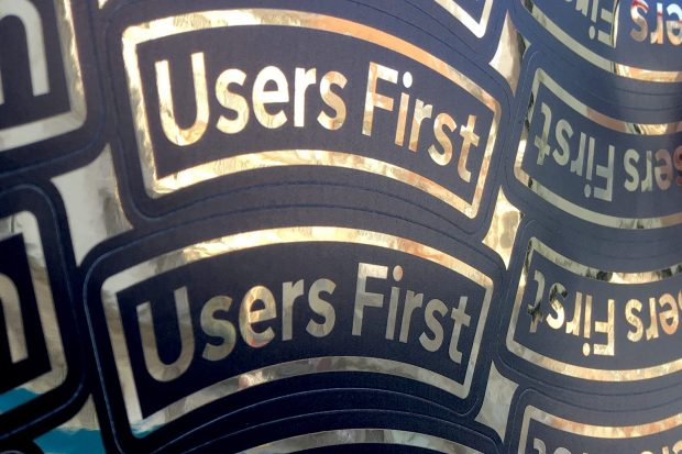 "Sticker sheet showing ""Users First"""