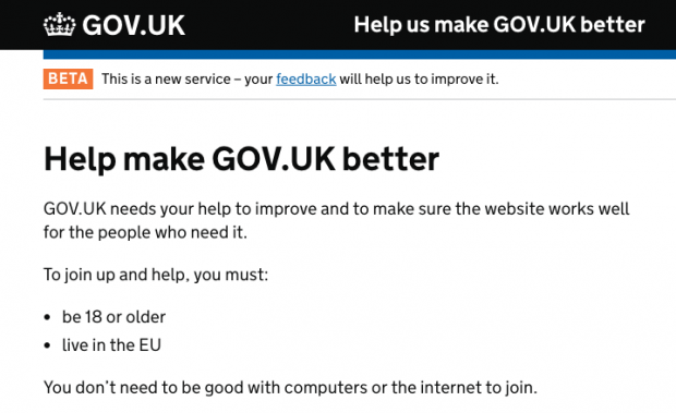 A screenshot of the GOV.UK user research panel