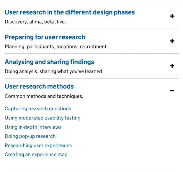 Screen shot of part of the main user research in the service manual