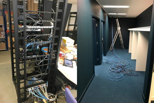 Images of a rack of electronics being built and a corridor with cabling and a ladder