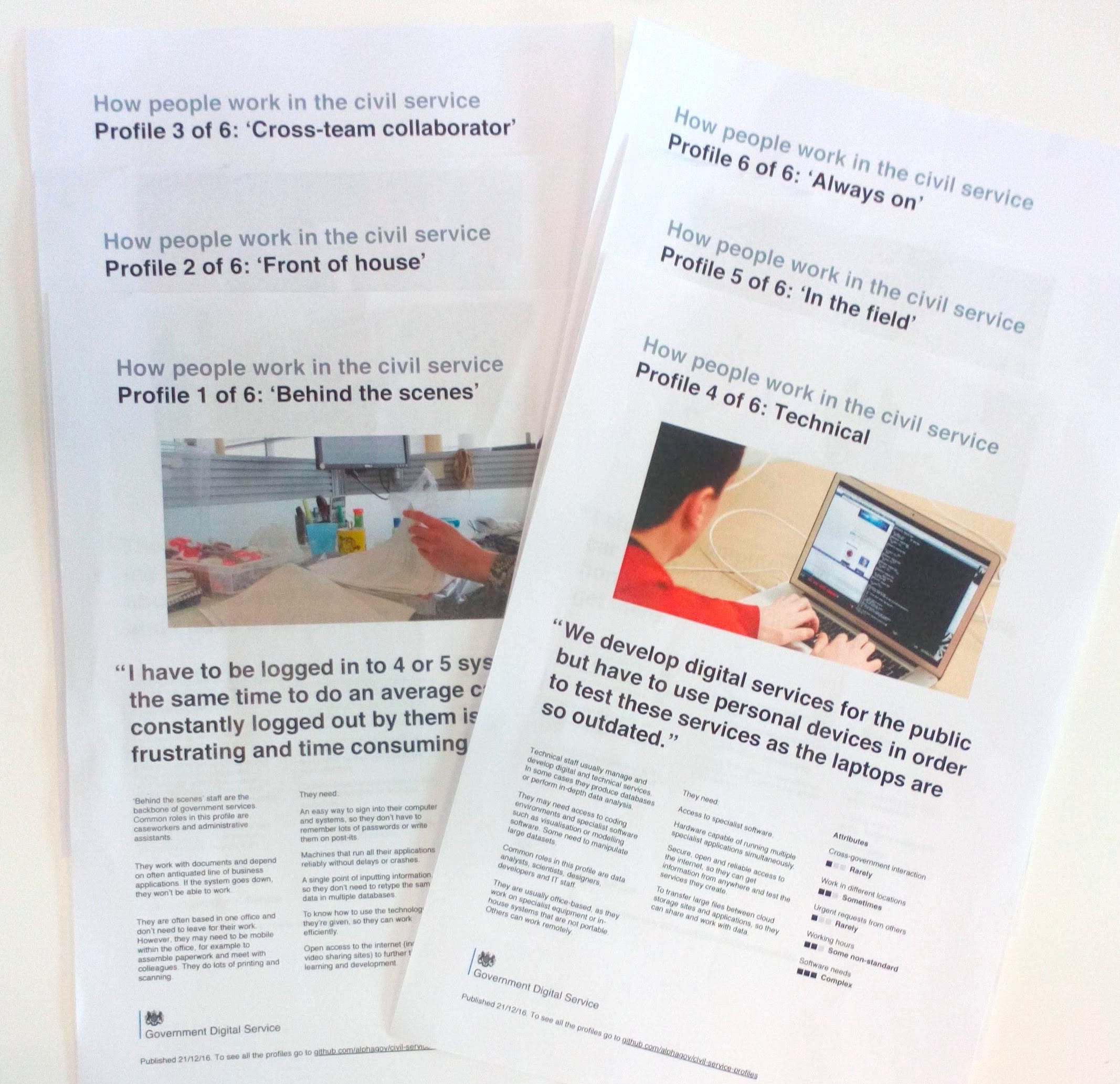 Photo of printed copies of the civil servant profiles