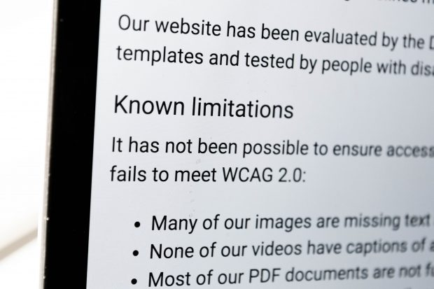 "A close up of an example accessibility statement which focuses on the words ""Known limitations"", suggesting the website has failed to meet requirements because it is missing captions on images and videos do not have subtitles"