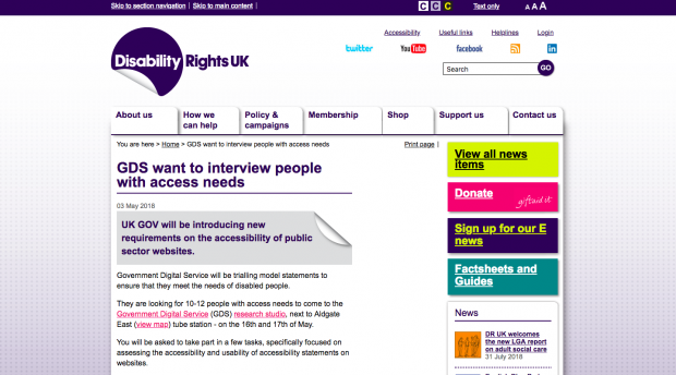 Screenshot of the recruitment advert on the Disability Rights UK website