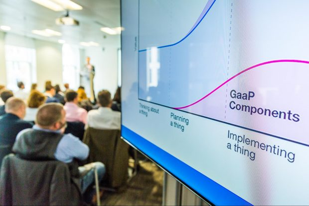 A photo with a presentation screen showing the phrase 'GaaP components'