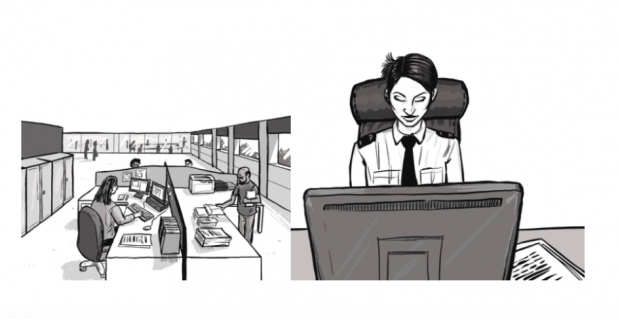 Illustration of police staff working in an open plan office and a close up of a police officer working at a computer