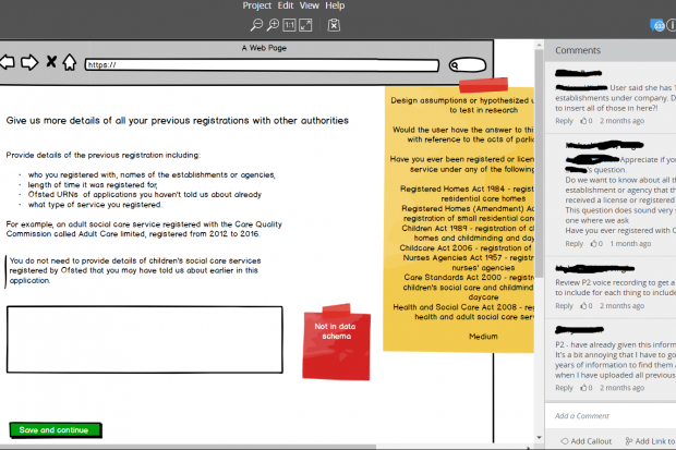 Screenshot of the prototyping tool. To the left is a mock up of a page titled 'Give us more details of all your previous registrations with other authorities'. Two digital sticky notes are also present on the screen. To the right is a sidebar with a number of comments in, containing observations from the research.
