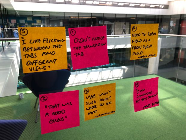 A photo showing post its of observations from usability testing. They follow good practice guidelines of one observation or quote per post it about what did or didn't work, a participant number.