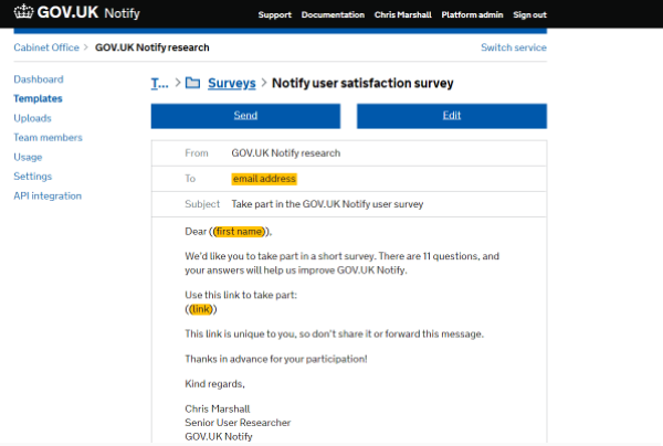 "A screenshot of a message drafted in GOV.UK Notify called ""Notify user satisfaction survey"""